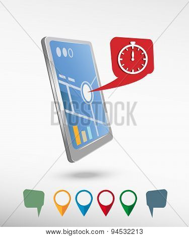 Stopwatch And Perspective Smartphone Vector Realistic