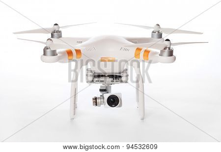 PILSEN CZECH REPUBLIC - JUNE 27, 2015: Drone quadrocopter Dji Phantom 3 Professional with high resolution digital camera. New tool for aerial photo and video.