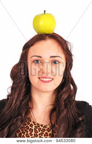 Girl-teenager Keeps On Head A Apple