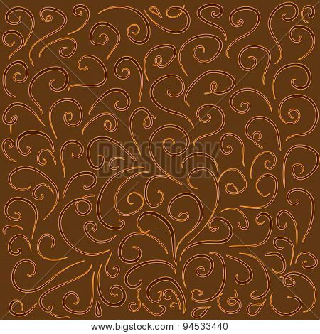 Background With Curved Lines In Warm Brown Tones.