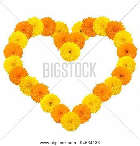 Yellow Flowery Heart On White
