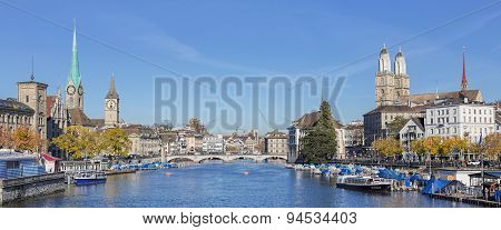 View Along The Limmat River In Zurich