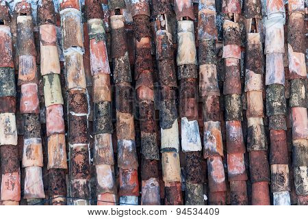 Abstract Background Of Old Clay Tiles. Colorful, Somewhere Broken, Traditional Tiles Of Roof. Cuba.