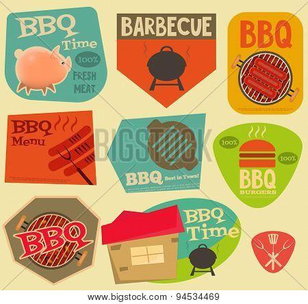 Retro Bbq Stickers Collection