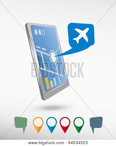 Airplane Icon  And Perspective Smartphone Vector Realistic