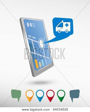 Ambulance Icon  And Perspective Smartphone Vector Realistic