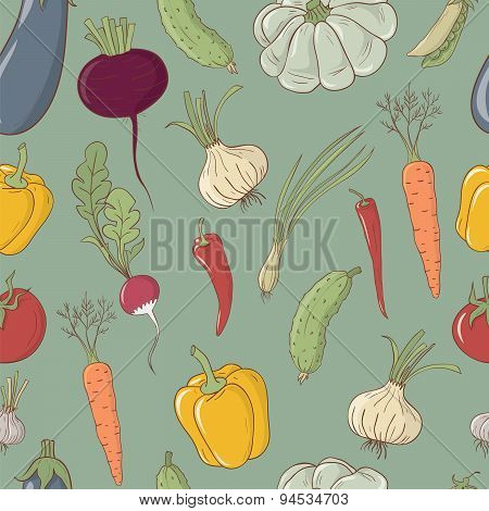 Seamless Vector Pattern With Vegetables