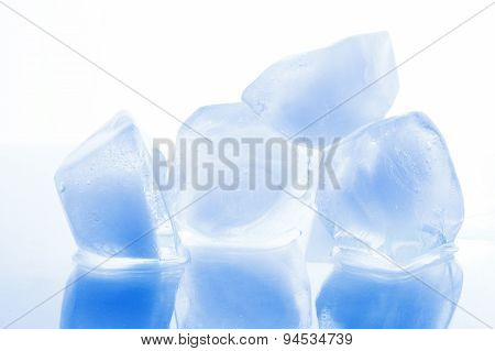 Chunks Of Ice On A White Background