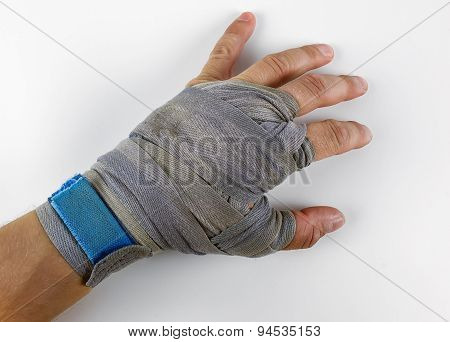Hand In Blue Boxing Bandage