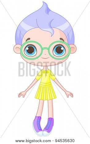 Illustration of cute girl wearing glasses