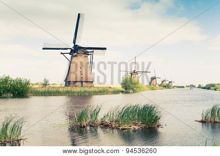 traditional windmills in Netherlands