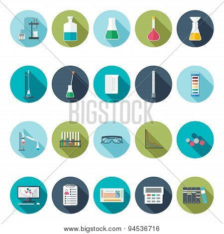 Chemical Icons. Flat Design. Vector