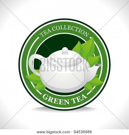 Green tea label with white teapot