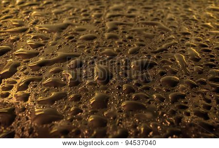 Gold Glass With Natural Water Drops