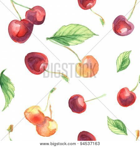 seamless pattern with cherries and leaves