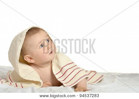 Cute baby with blanket