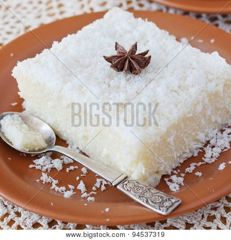 Brazilian traditional dessert: sweet couscous (tapioca) pudding (cuscuz doce)