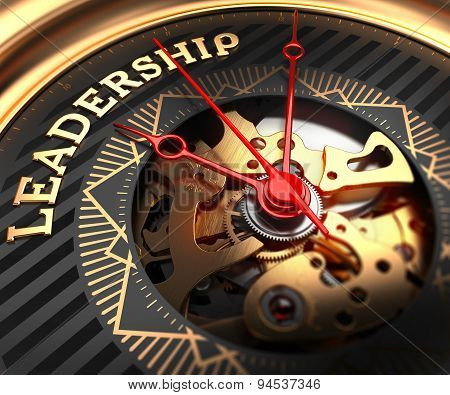 Leadership on Black-Golden Watch Face.