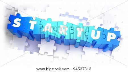 Startup - White Word on Blue Puzzles.