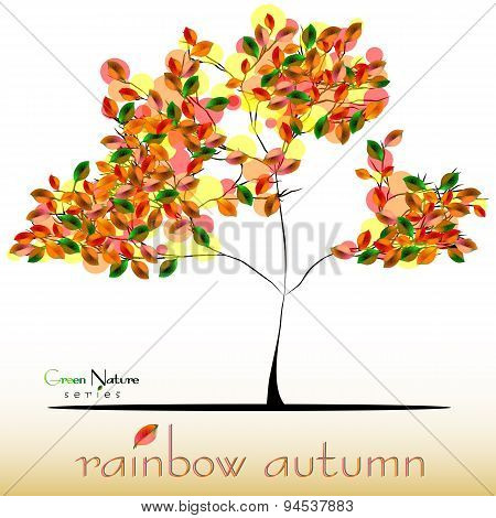 Abstract Tree In Green-red-yellow Foliage At Fall. Golden Autumn
