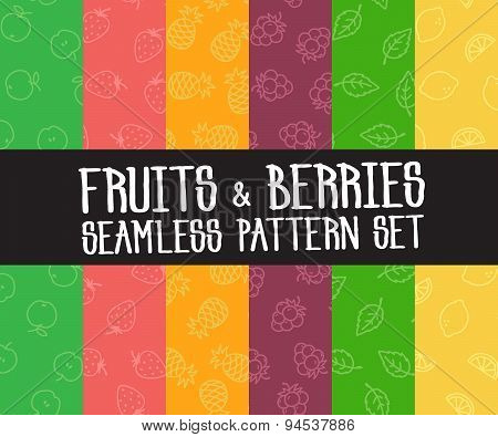Set Of Vector Simple Fruits Seamless Patterns