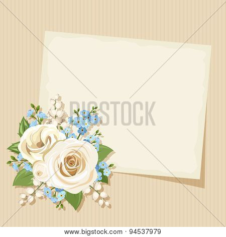 Vintage card with white and blue flowers. Vector eps-10.