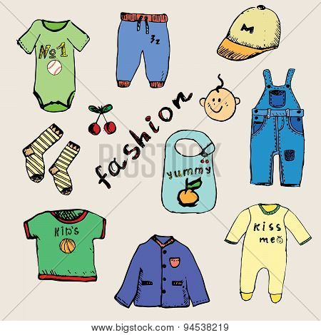 Clothes For Baby Boy Set Hand Drawn Sketch, Colored And Outlined