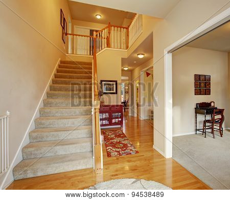 Calssic Entry Way With Stairs.