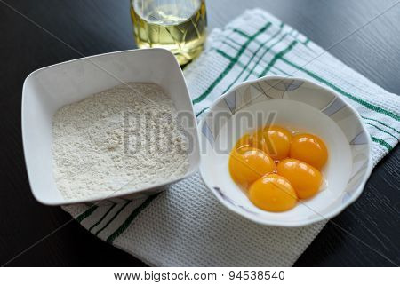 Egg yolks and flour