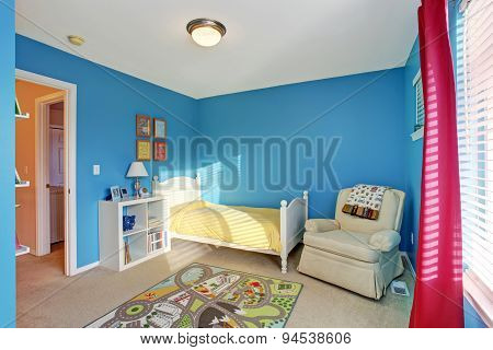 Cute Kids Room With Blue Walls.