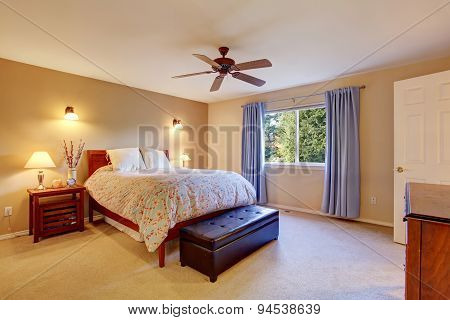 Beautiful Master Bedroom With Carpet And Window.