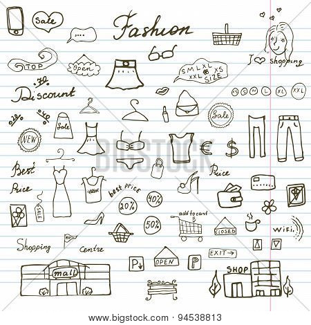 Fashion Collection Sketchy Doodles Set With Lettering, Hand-drawn Vector Illustration Design Element