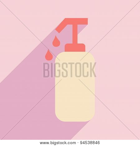 Flat with shadow icon and mobile application cream soap