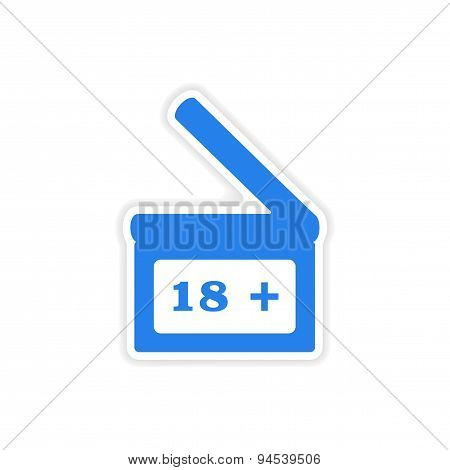 icon sticker realistic design on paper  Clapperboard