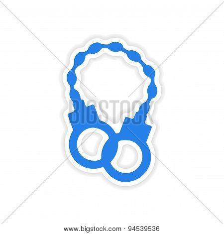 icon sticker realistic design on paper handcuffs