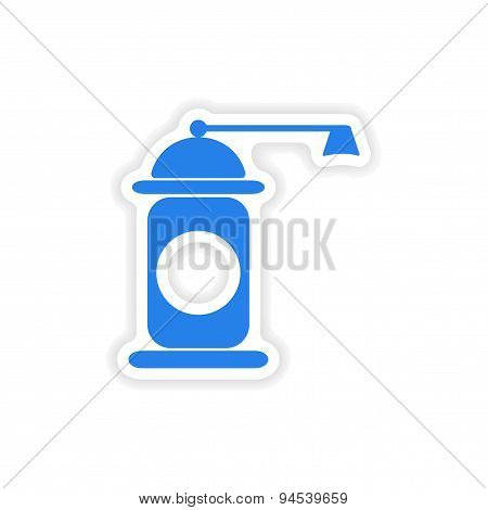 icon sticker realistic design on paper pepper mill