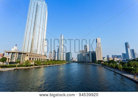 Modern buildings and river in urban city