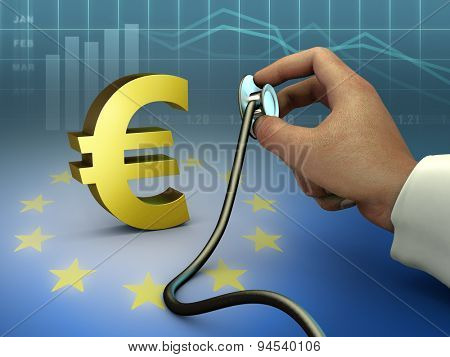 Doctor using a stethoscope to check a gold euro symbol. Digital illustration.