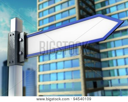 Blank signpost in a modern urban setting. Digital illustration.