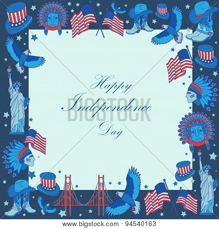 Frame With Usa Symbols In Flat Style. Independence Day