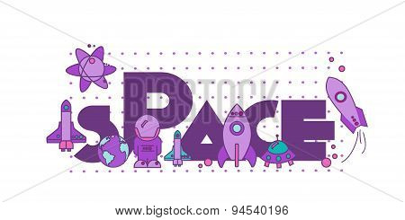I Need More Space.flat Illustration With Typographic For Poster Print ,greeting Card ,t Shirt Appare