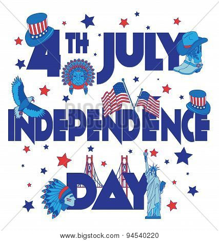 Usa  Independence Day Banner. Flat Illustration Typography