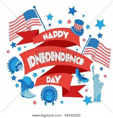 Happy Independence Day Banner. Flat Illustration