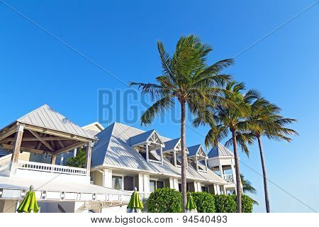 Resort building facing the evening sun in Key West, Florida