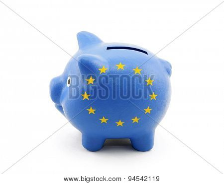 Piggy Bank with European Union flag