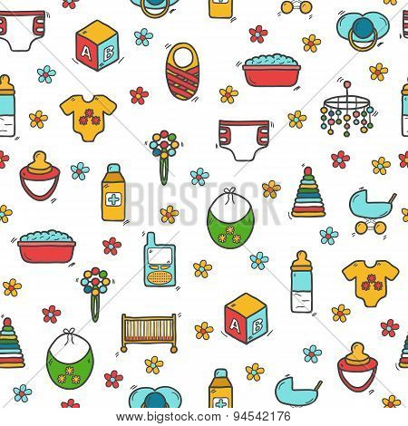 Seamless background with cute hand drawn objects on baby theme. Baby care concept with hand drawn ob