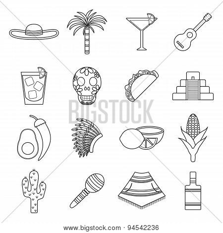 Set of flat outline icons on Mexica theme: sombrero, poncho, tequila, coctails, taco, skull, guitar,