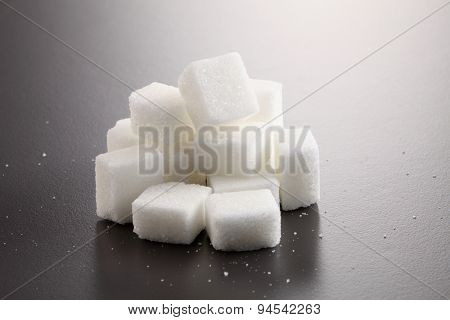 sugar cube on gray background