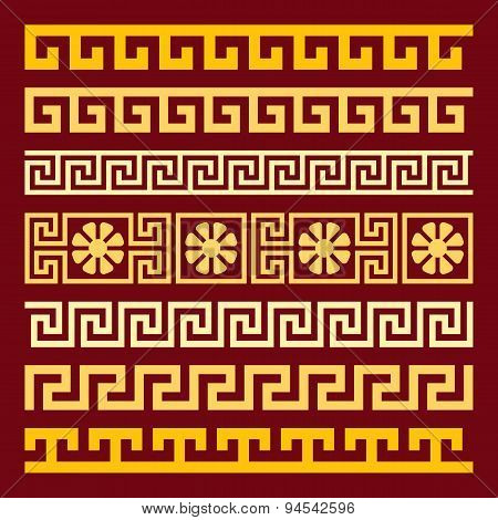 vector set gold Greek ornament Meander