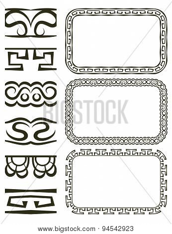 Vector Set Of Elegant Borders And Frames